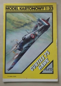 Curtiss 75 Hawk, Model Kartonowy 1:33, MATA DESIGN