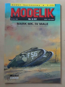 Brytyjski czołg Mark Mk. IV Male, skala 1:25, Modelik Nr 2/97, Model Card