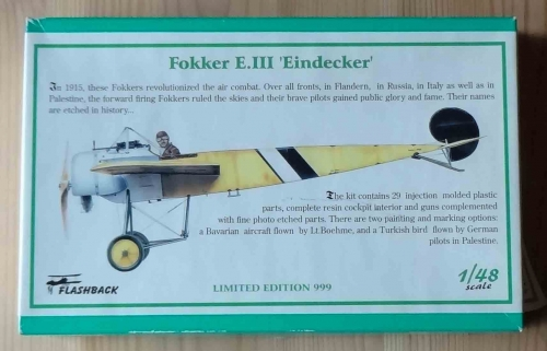 "Fokker E.III ""Eindecker"", 1/48 scale, Limited Edition 999, Flashback KLH 89 10, model plastikowy.jpg"