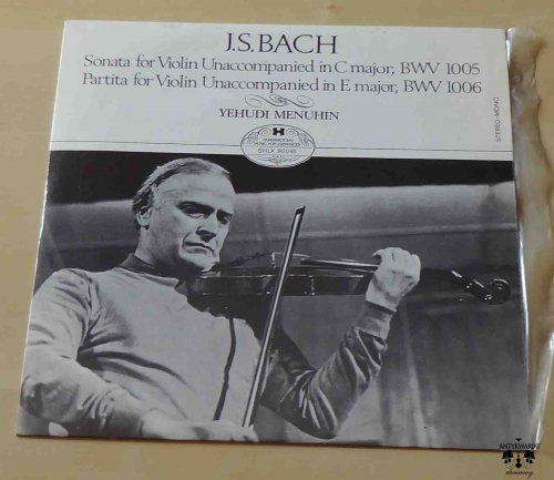 J. S. Bach, Sonata for Violin Unaccompanied in C major BWV 1005, Partita for Violin Unaccompanied in E major BWV 1006, Yehudi Menuhin, płyta winylowa.jpg
